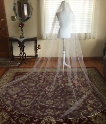 Satin Edge Two Layer Off White Sheer Bridal Veil Shoulder and Cathedral Lengths