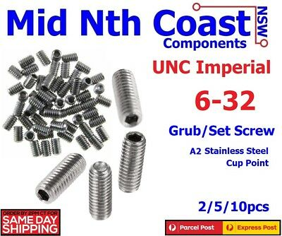 2/5/10pc #6-32 UNC Imperial SS Hex Head Grub Screw Cup Point Guitar Saddles
