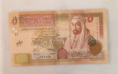 Jordan 5 Dinars Banknote Year 2010 Uncirculated Paper Money -Hashemite Kingdom