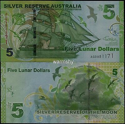 Silver Reserve of The Moon Australia 2015 Sailing Banknotes 5 Lunar Dollars UNC