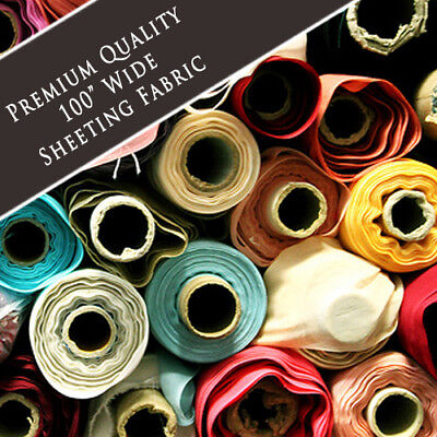 "Solid Plain Poly Cotton Bed Sheeting Fabric Crafts By The Metre- 100"" Inch Wide"