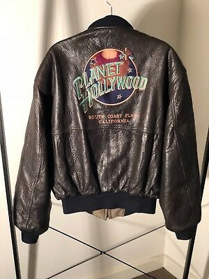 Original Planet Hollywood pebbled leather bomber jacket reversible