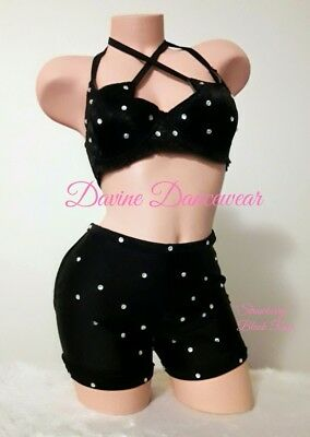 """Exotic Dancewear """"Strawberry"""" Black Rose High Waist Chaps Outfit"""