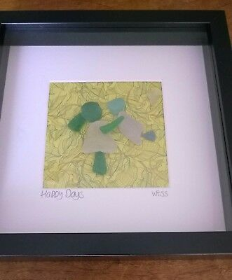 Unique Framed Irish beach Sea Glass art ~ New baby mum sisters Mother's Day gift