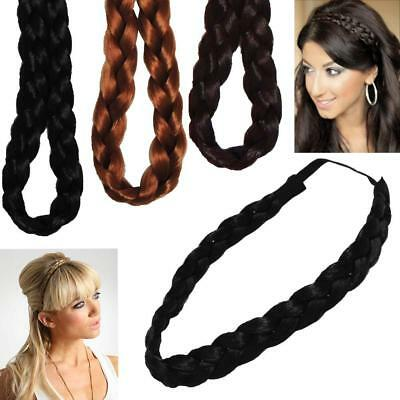Ladies Girls Braided Synthetic Hair Plaited Plait Elastic Headband Hairband ONE