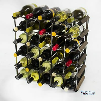 Cranville 30 bottle dark oak stained wood and metal wine rack ready to use