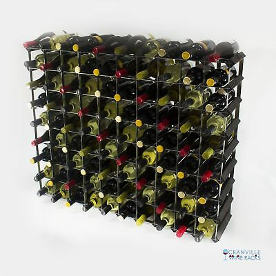 Cranville 90 bottle black stained wood and metal wine rack ready to use