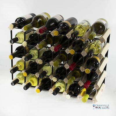 Cranville 30 (6x4) bottle pine wood and black metal wine rack ready to use