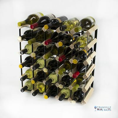 Cranville 30 bottle pine wood and black metal wine rack ready to use