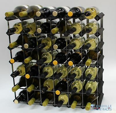Cranville 42 bottle black stained wood and metal wine rack ready to use