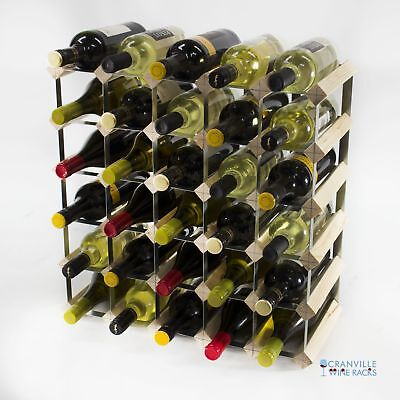 Cranville 30 bottle pine wood and metal wine rack ready to use