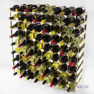 Cranville 72 bottle pine wood and metal wine rack ready to use