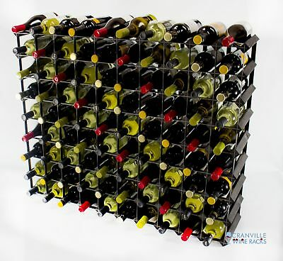 Cranville 90 bottle black stained wood and black metal wine rack ready to use