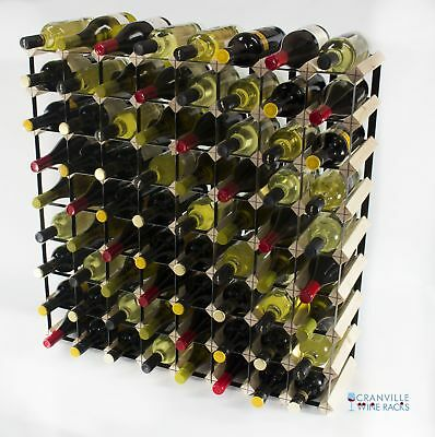 Cranville 72 bottle pine wood and black metal wine rack ready to use
