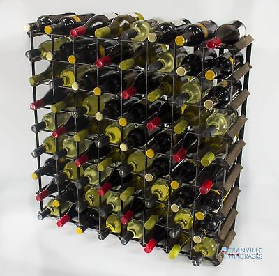 Cranville 72 bottle dark oak stained wood and black metal wine rack ready to use