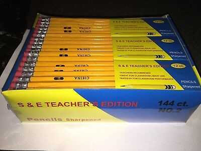 Bulk Pencils #2 Pre Sharpened No. 2 Box of 144 Teachers Edition NEW