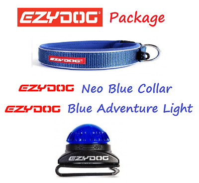 EZYDOG PACKAGE BLUE Neo Dog Collar & Adventure Collor Light - All Sizes