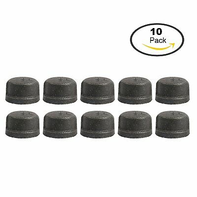 "YaeTek 1/2"" Black Cast Malleable Iron Pipe Fitting Cap 10 Pack US"
