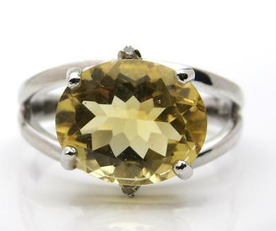 BNWT 12x10mm Oval Lemon Citrine 9ct White Gold Ring Size O UK Hallmark