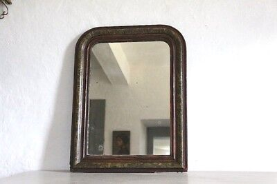 Small 19th Century French Louis Philippe Mirror Original Glass and Paint Finish