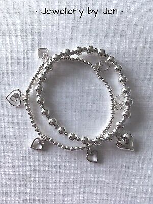 Bijoux Heart Charms Silver Plated Stacking Bracelet Set Stretch Handmade