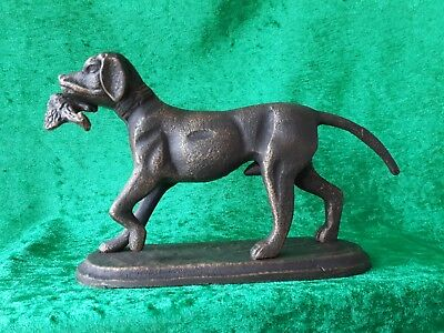 spelter figure Labrador dog with Pheasant.