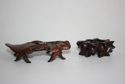 2 Pcs Antique Chinese Wooden Hand Carved Small Stand for Small Figures Ornament