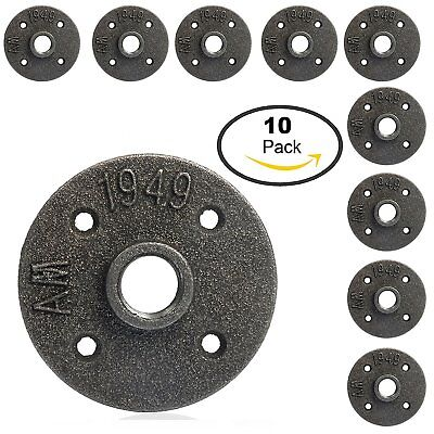 10Pc 1/2'' Black Malleable Threaded Floor Flange Iron Pipe Fittings Wall Mount U