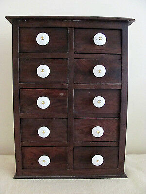 Old Vintage Antique Primitive 10 Drawer Wooden Spice Cabinet