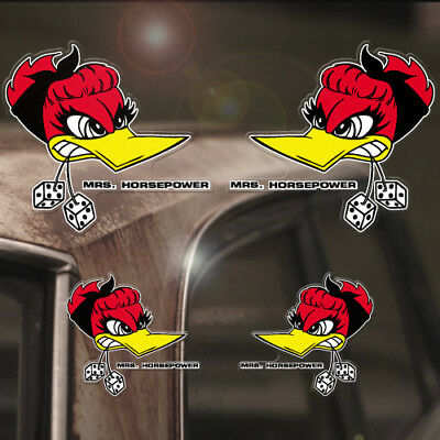 4x Stück Mrs. Horsepower Sticker Original Aufkleber Rat Hot Rod Woodpecker