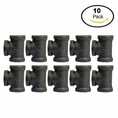 Tee, Black, 1/2-Inch Cast Iron Malleable Pipe Fitting Class 150 - 10 Pack US