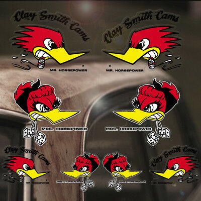 8x Stück Mr. & Mrs. Horsepower Sticker Original Aufkleber Set Hot Rod Woodpecker
