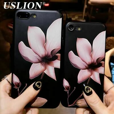 Soft TPU 3D White Flower Paint Phone Case For iPhone 7 8 6 6S Plus 5 5s SE