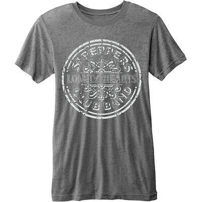 NEW The Beatles Men's Fashion Tee: Sgt Pepper Drum with Burn Out Finishing (X-La