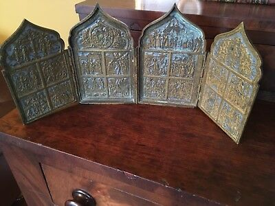 ANTIQUE 18c HOME RUSSIAN ORTHODOX ICON BRONZE TRIPTYCH LITIO WITH BLUE ENAMEL