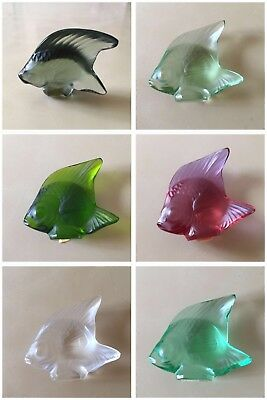 Lalique Set of 6 Different Colored Fish in perfect condition