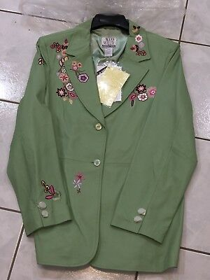 NOLAN MILLER GLAMOUR STYLE PISTACHIO LEATHER EMBROIDERED JACKET Sz LARGE NEW NWT