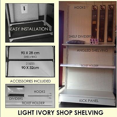 9m Ivory light metal shop shelving supermarket display retail unit with extras