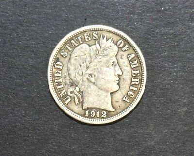 1912-P Barber One Dime Coin Silver 90%  C8550
