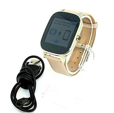 Asus Zenwatch 2 WI502Q Watch Silver Tone With Beige Leather W/Charger  H90