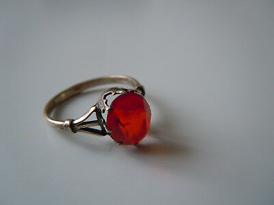 RARE RUSSIAN 875 silver ring with red stone, CCCP period Moscow 1950-60