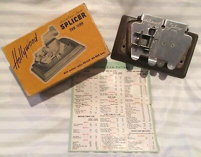 Vintage Hollywood Stainless Steel 8mm - 16mm Film Splicer + Original Box Antique