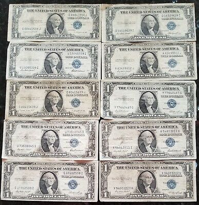 Lot Of (10) 1935 $1 Dollar Silver Certificate Bills No Reserve Free Shipping