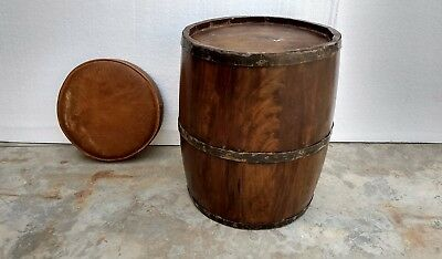 Wood Rustic Drum Barrel Style Side Table Polished Stool With Leather Sheet