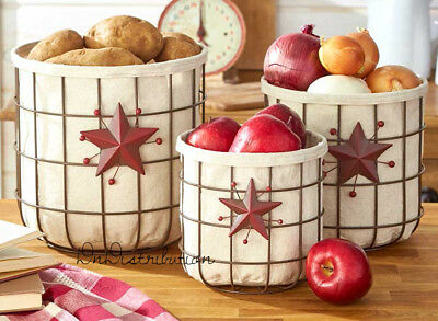 Lined Wired Baskets Set of 3 Country Star Themed Rustic Country Kitchen Decor