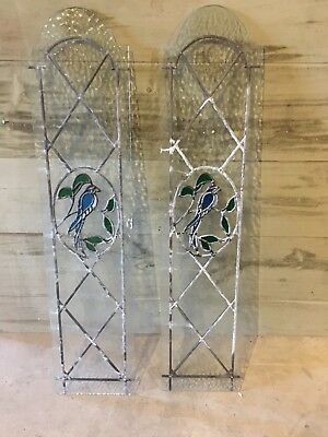 A Pair Of Stained Glass Door Panel Bird Feature Design Sun Catcher Reflective