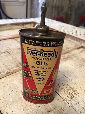 Vintage Ever-Ready Machine Oil Handy Oiler Lead Spout Top Advertising Gas Can
