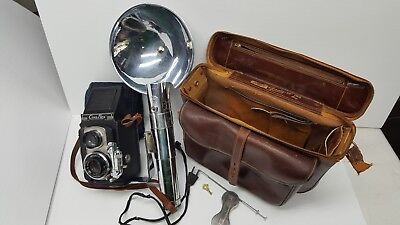 CIRO FLEX TLR Camera, WOLLENSAK 85mm F3.5 Lens, Lens Cover, Leather Case, Flash