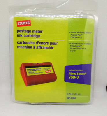 Staples SIP-E700 Postage Meter Ink Cartridges E707 FITS PITNEY BOWES 769-0 New
