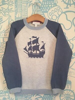 Boys Little White Company Blue Peter Nautical Jumper Age 5-6 Years